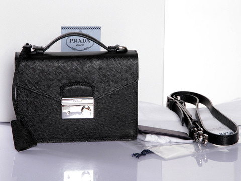 2014 New Prada Saffiano Leather Mini Bag BT0960 in Black