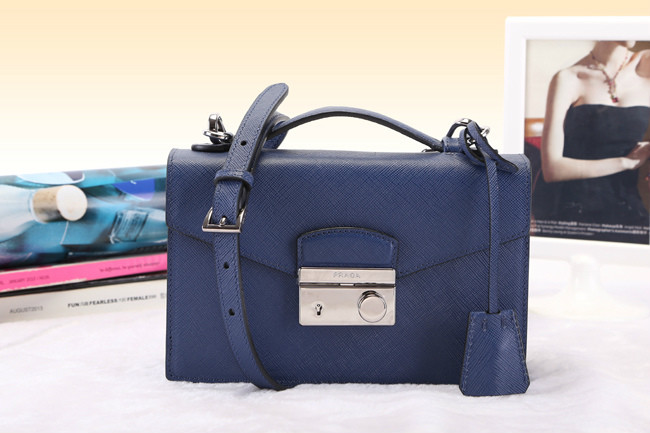 2014 New Prada Saffiano Leather Mini Bag BT0960 in Blue