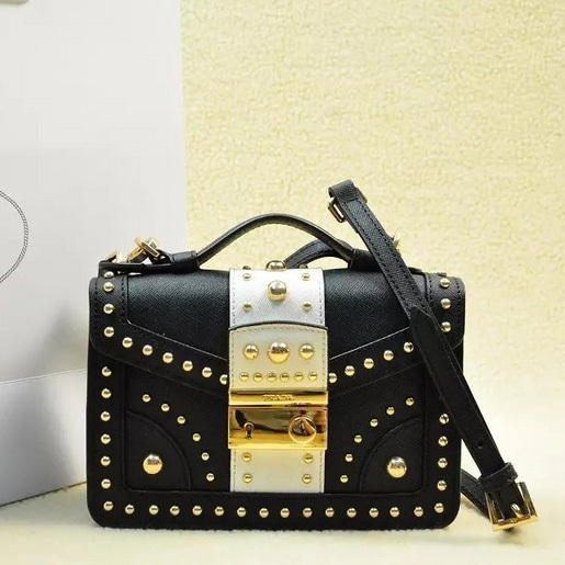 2014 Fall Winter Prada Bicolor Saffiano Crossbody Bag with Metal Studs