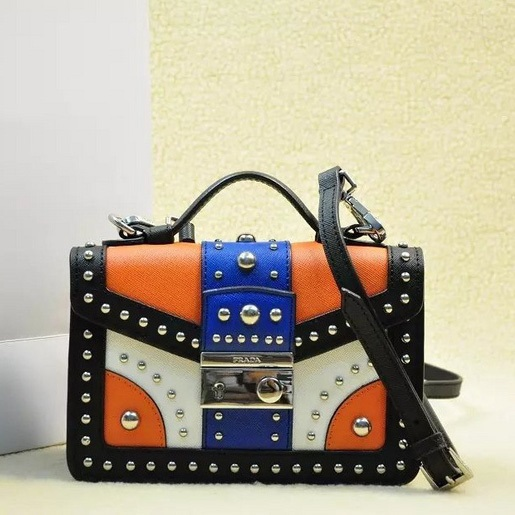 2014 Fall Winter Prada Tricolor Saffiano Crossbody Bag with Metal Studs