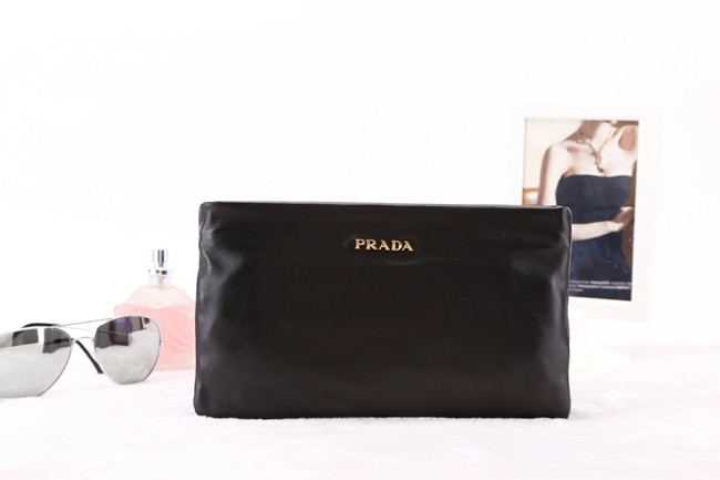 2014 New Prada Nappa Leather Double Clutch BP0635 in Black