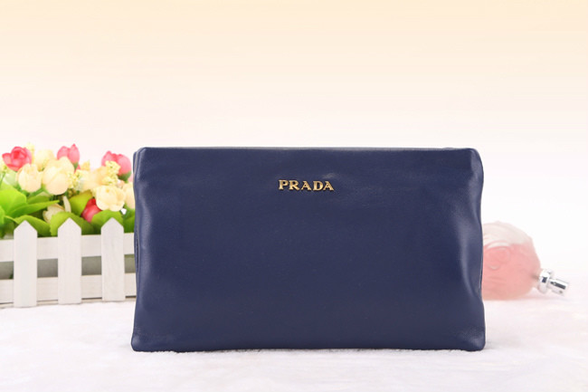 2014 New Prada Nappa Leather Double Clutch BP0635 in Blue