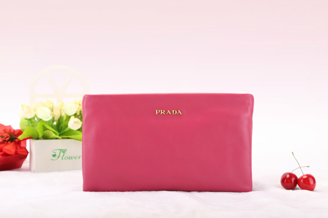 2014 New Prada Nappa Leather Double Clutch BP0635 in Rose