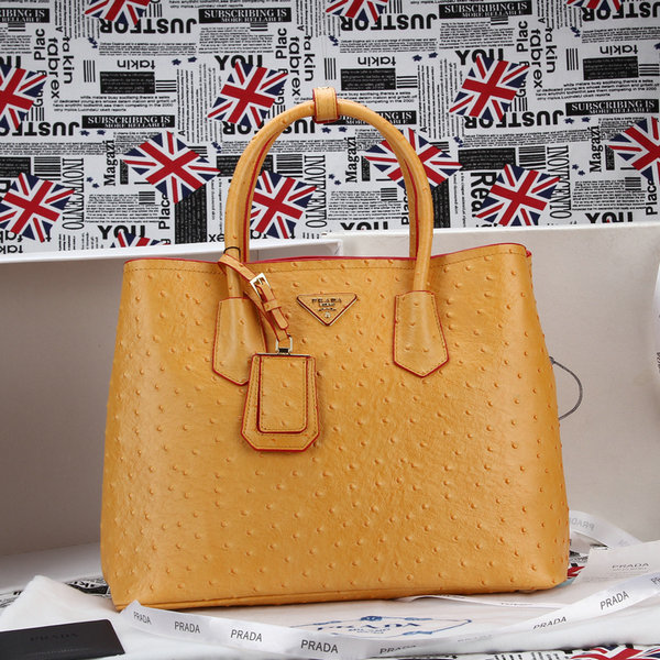 2014 New Prada Ostrich Leather Tote BN2756 in Yellow