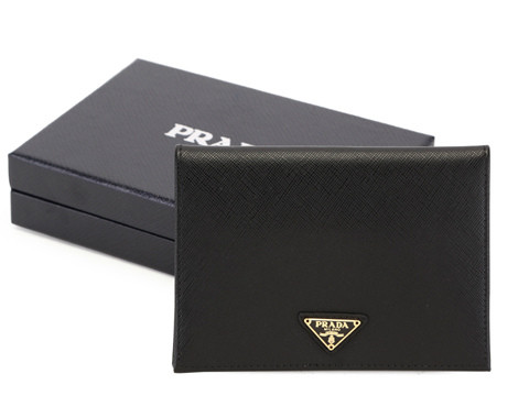 2014 New Prada Saffiano Passport Cover 2ARD61 in Black