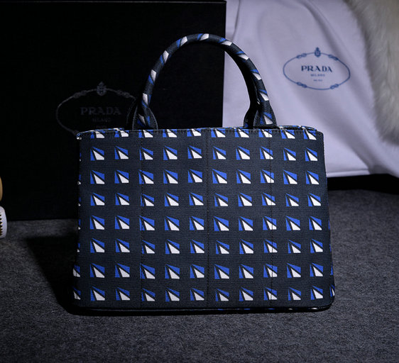 2014 Fall/Winter Prada Print Hemp Fabric Tote in Cornflower Blue