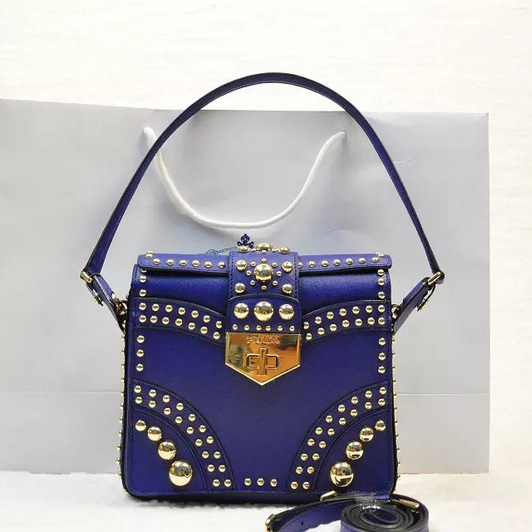 2014 Fall Winter Prada Saffiano Flap Bag B5045M in Royalblue