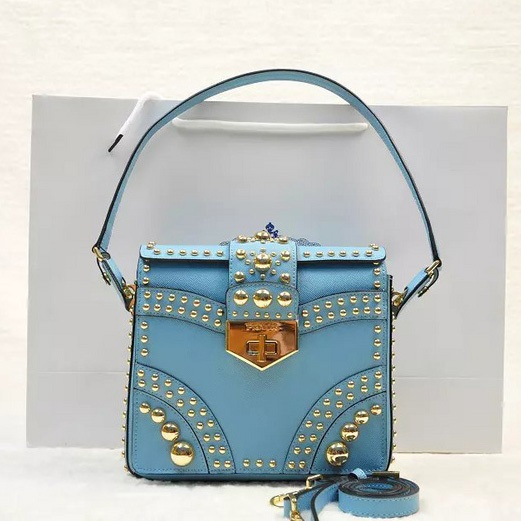 2014 Fall Winter Prada Saffiano Flap Bag B5045M in Sky Blue