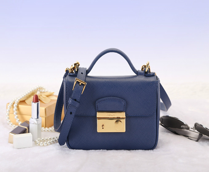 2014 Latest Prada Saffiano Leather Mini Bag BT0963 in Blue