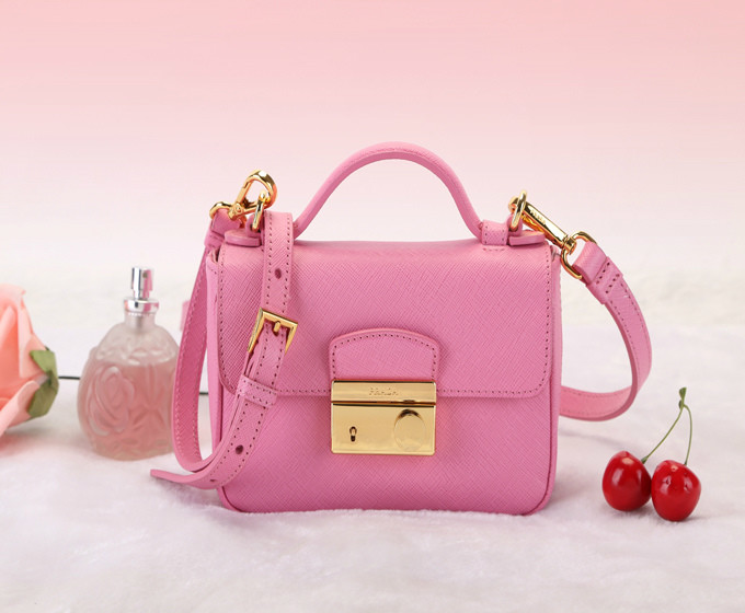 2014 Latest Prada Saffiano Leather Mini Bag BT0963 in Pink