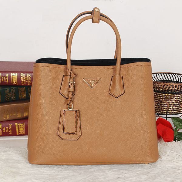 Free Gift for order amount over 900AUD-Prada Saffiano Cuir Double Tote Bag BN2756 in Apricot
