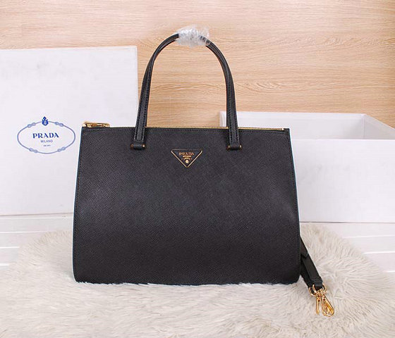 2014 Latest Prada Saffiano Cuir Leather Tote BN2760 in Black