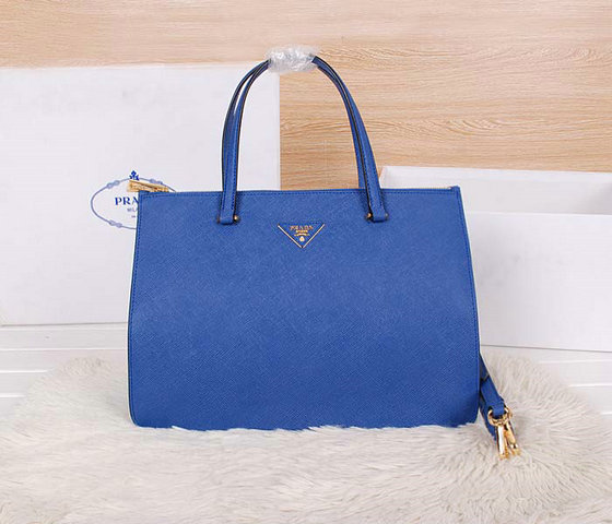 2014 Latest Prada Saffiano Cuir Leather Tote BN2760 in Cornflower Blue