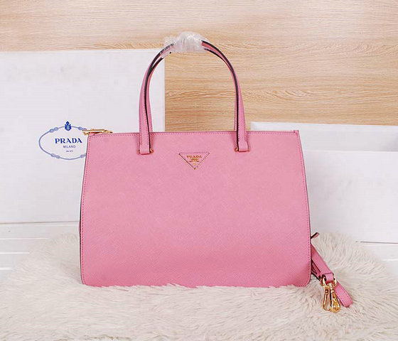 2014 Latest Prada Saffiano Cuir Leather Tote BN2760 in Pink