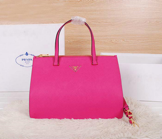 2014 Latest Prada Saffiano Cuir Leather Tote BN2760 in Rose