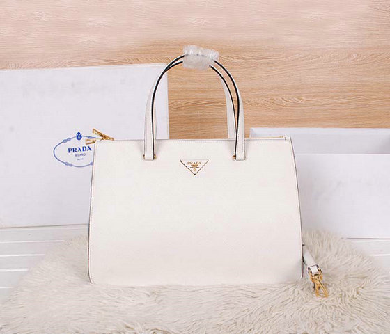 2014 Latest Prada Saffiano Cuir Leather Tote BN2760 in White