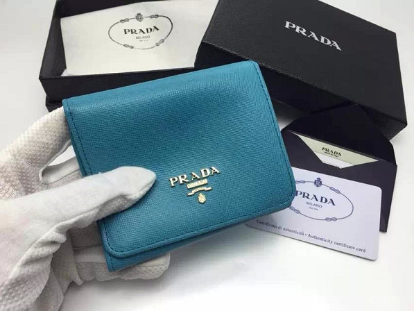2014 Fall/Winter Prada Saffiano Leather Trifold Wallet 1M0176 in Light Blue