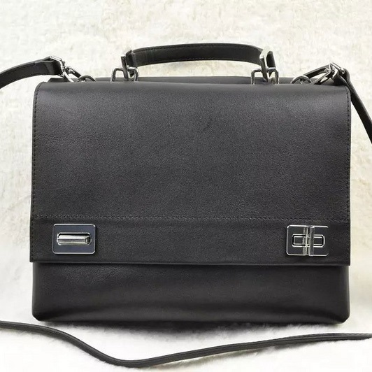 2014 Fall/Winter Prada Lux Calf Double Satchel BN2796 in Black