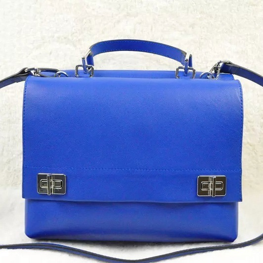2014 Fall/Winter Prada Lux Calf Double Satchel BN2796 in Blue