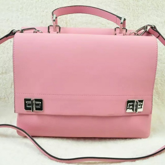 2014 Fall/Winter Prada Lux Calf Double Satchel BN2796 in Pink