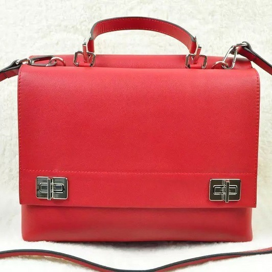 2014 Fall/Winter Prada Lux Calf Double Satchel BN2796 in Red