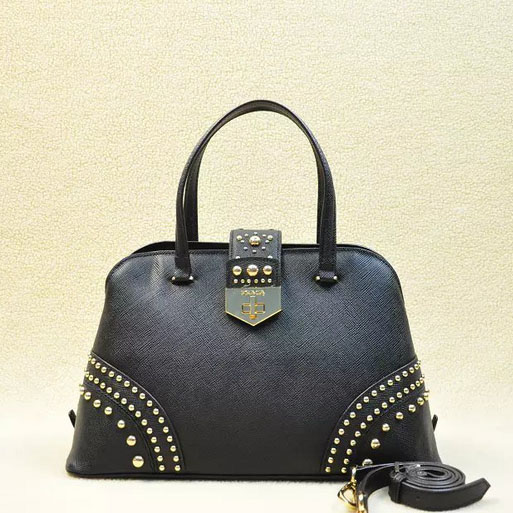 2014 Latest Prada Studded Top Handle Bag B2753 in Black Saffiano Leather