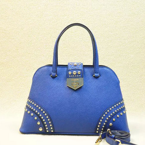 2014 Latest Prada Studded Top Handle Bag B2753 in Blue Saffiano Leather