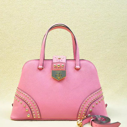 2014 Latest Prada Studded Top Handle Bag B2753 in Pink Saffiano Leather