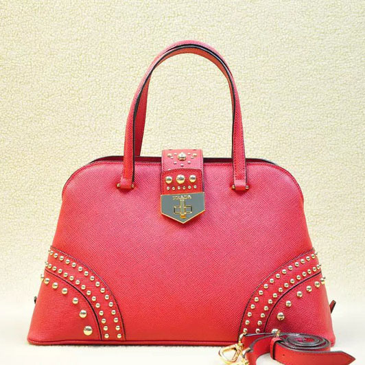 2014 Latest Prada Studded Top Handle Bag B2753 in Red Saffiano Leather
