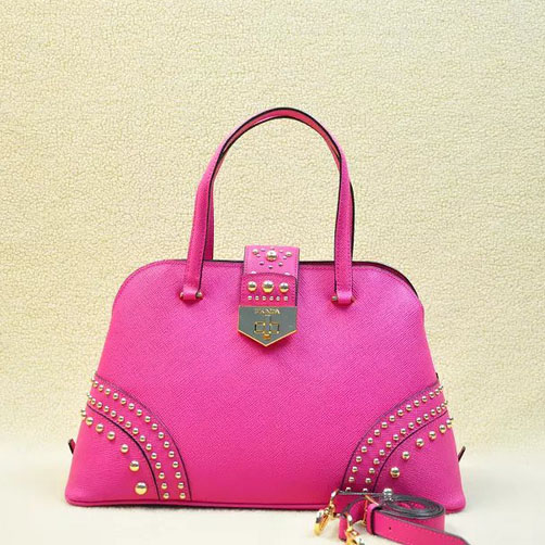 2014 Latest Prada Studded Top Handle Bag B2753 in Rose Saffiano Leather
