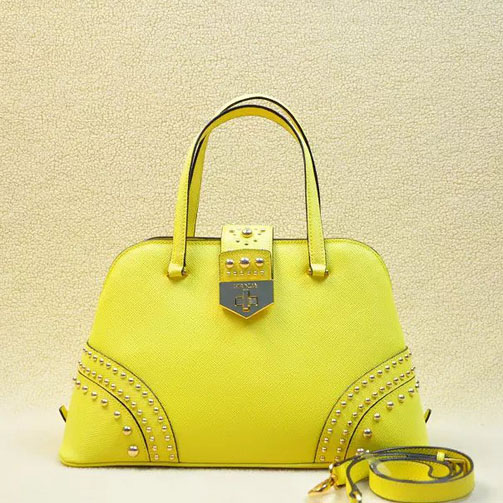 2014 Latest Prada Studded Top Handle Bag B2753 in Sunflower Saffiano Leather