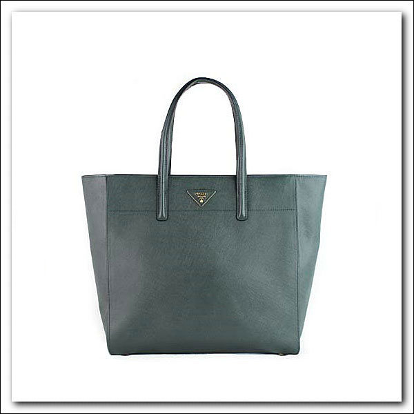 2014 Latest Prada Soft Saffiano Leather Tote BN2666 in Dark Green