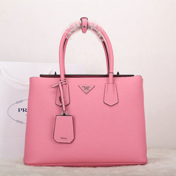 New Prada Bags 2014-Prada Twin Saffiano Cuir Leather Tote BN2748 in Pink