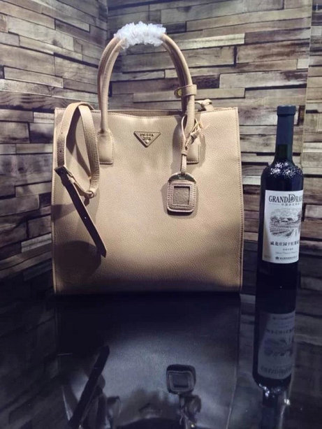 2014 A/W Prada Vitella Daino Shopping Bag BN2671 in Apricot Original Leather