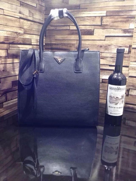 2014 A/W Prada Vitella Daino Shopping Bag BN2671 in Black Original Leather