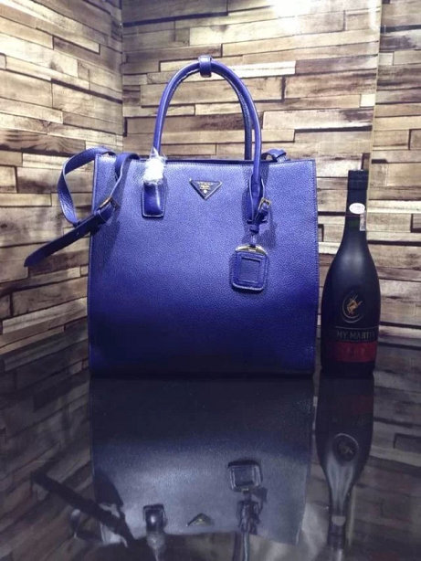 2014 A/W Prada Vitella Daino Shopping Bag BN2671 in Blue Original Leather