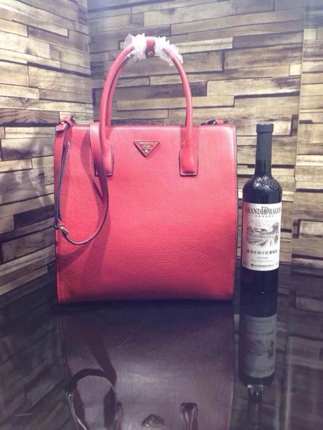 2014 A/W Prada Vitella Daino Shopping Bag BN2671 in Red Original Leather