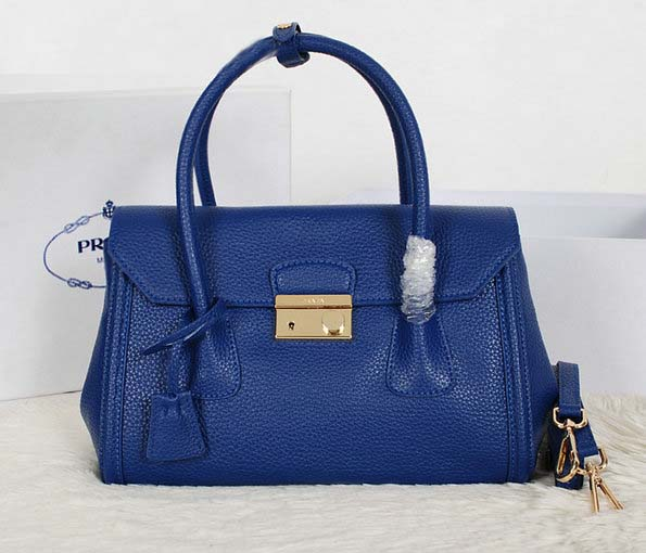 New Prada Handbags 2014-Prada Vitello Daino Tote BN0886 in Blue