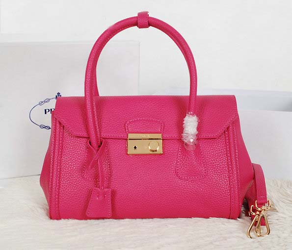 New Prada Handbags 2014-Prada Vitello Daino Tote BN0886 in Rose