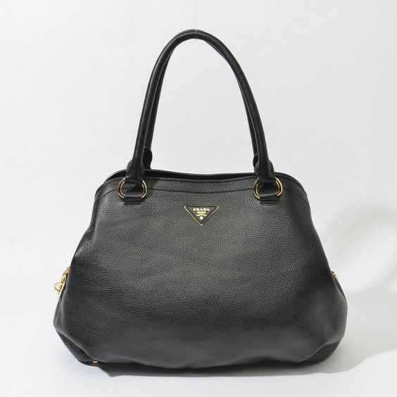 2014 Fall/Winter Prada Grainy Leather Tote BR4386 in Black