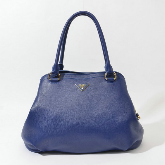 2014 Fall/Winter Prada Grainy Leather Tote BR4386 in Blue