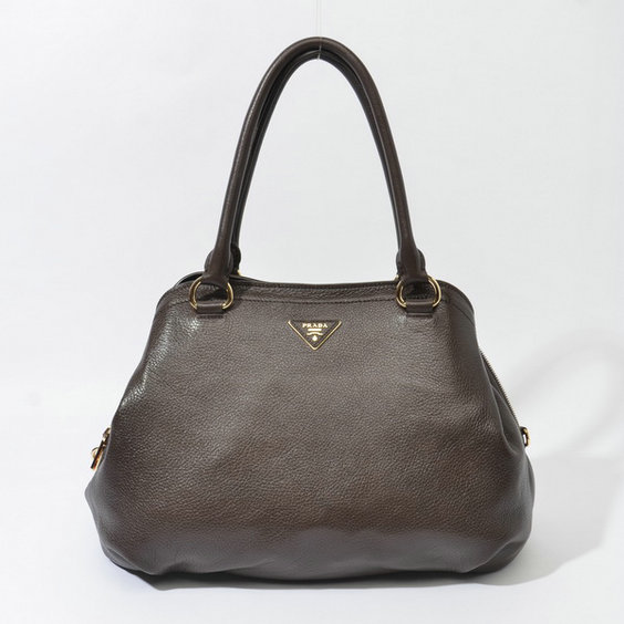 2014 Fall/Winter Prada Grainy Leather Tote BR4386 in Chocolate