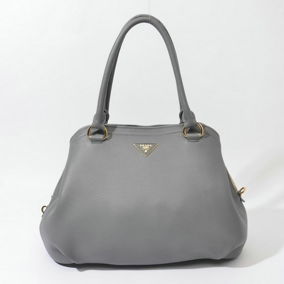 2014 Fall/Winter Prada Grainy Leather Tote BR4386 in Grey