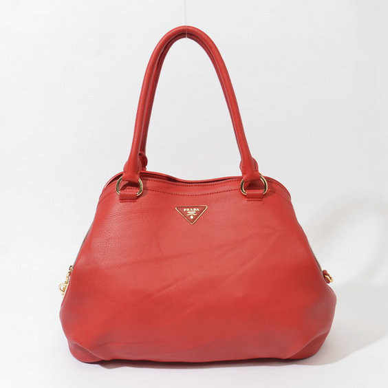 2014 Fall/Winter Prada Grainy Leather Tote BR4386 in Red