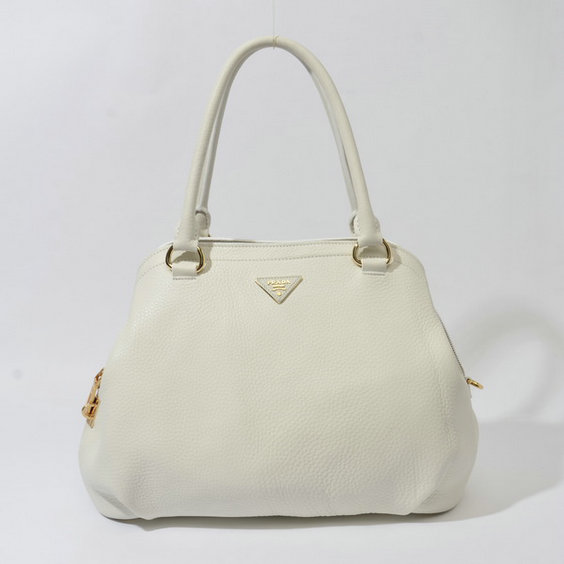 2014 Fall/Winter Prada Grainy Leather Tote BR4386 in White