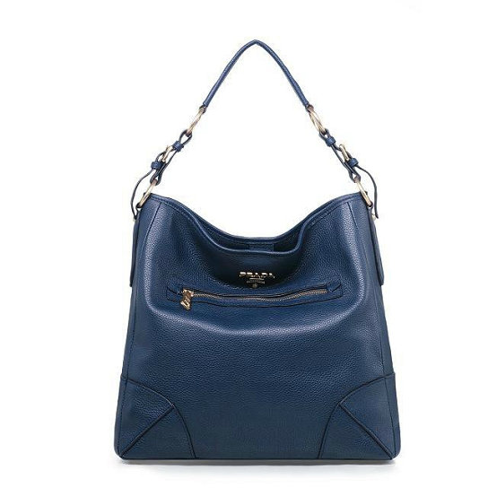2014 Fall/Winter Prada Vitello Daino Leather Shoulder Bag BR4893 in Baltic Blue