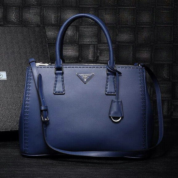 2015 Latest Prada Hand-stitched City Calf Double Zip Tote in Blue