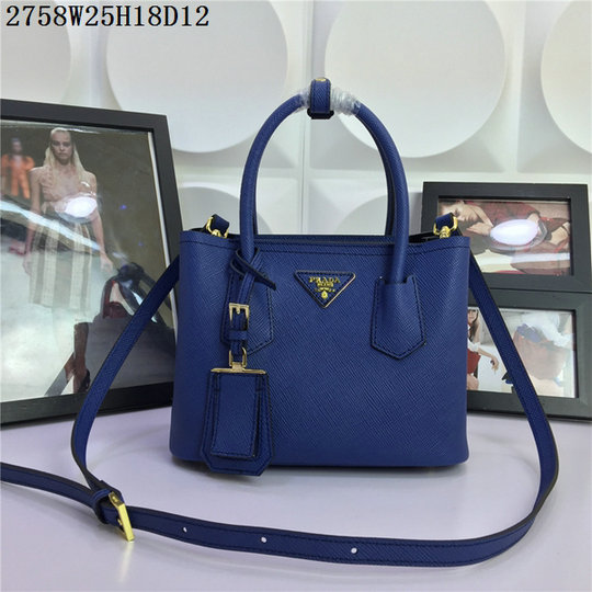 2015 Spring Summer Prada Small Saffiano Double Tote BN2758 in Blue