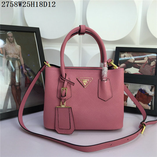 2015 Spring Summer Prada Small Saffiano Double Tote BN2758 in Pink