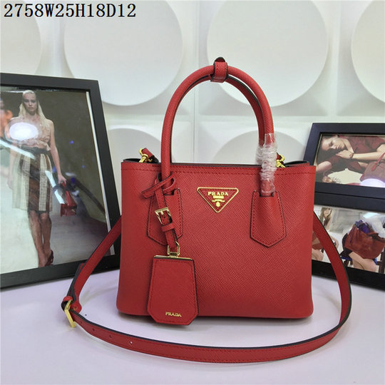 2015 Spring Summer Prada Small Saffiano Double Tote BN2758 in Red